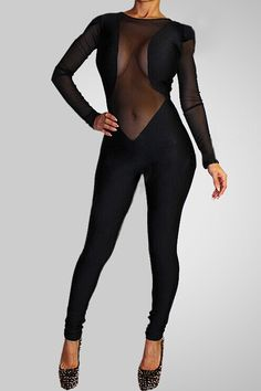 SEXY BLACK SLIM FIT HOLLOW CUT MESH CLUBWEAR BODYCON JUMPSUIT WOMEN PARTY ROMPERS BODYSUIT BODYWEAR EVENING COCKTAIL DRESS