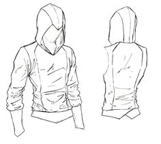 Assassin Beaked Hoodie. Something simple, with a nice beaked hood, and sleek lines. Not quite your basic hoodie, but simple enough to keep the price down. Each one is made with an Assassin's Creed... #DrawingFashion