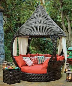 Cozy sleeping porch musts: luxurious comfort, an intriguing space for entertaining or relaxing, and a shaded cocoon for one or two overlooking an exotic resort pool or ocean.