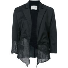 Greg Lauren asymmetric blazer (37.288.560 IDR) ❤ liked on Polyvore featuring outerwear, jackets, blazers, black, greg lauren, real leather jackets, leather blazer jacket, asymmetrical blazer and 100 leather jacket