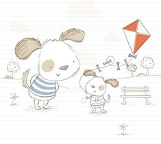 Sarah Ward Illustration - greetings cards, sarah ward, sarah, ward, novelty, picture book, digital, young, sweet, commercial, educational, activity, animals, pencil, drawing, collage, dogs, puppy, puppies, park, playing, kite