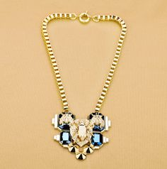 Cool Statement Bold Gold Box Chain Insect Spike Bib Necklace wholesale