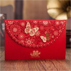 Gold Butterflies and Red Floral Double Happiness Chinese Wedding Invitations Chinese Wedding Invitation, Pocket Wedding Invitations, Wedding Invitation Design, Invitation Ideas, Wedding Day Groom Gift, Card Table Wedding, Wedding Cards, Wedding Dress, Wedding Reception Chairs