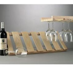 Lovely Wood Under Cabinet Wine Glass Rack