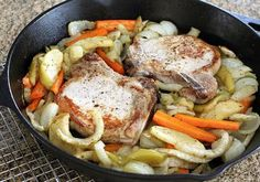 Big thick pork chops are stuffed with a nicely seasoned apple and bread crumb mixture for a fabulous main dish.