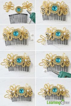Finish the beaded flower hair comb