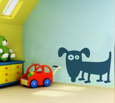 A dog is a dog Kids Room Wall Stickers, Kids Room Wall Art, Nursery Wall Decor, Wall Tattoo, Toy Chest, Dog, Home Decor, Diy Dog, Decoration Home
