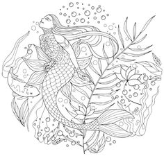 Japanese Coloring Books For Adults Mermaid PagesFish