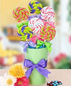 Aniversário Infantil - faça Você Mesma!!! O cachepô com pirulitos, facil, lindos e colorido!