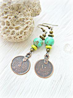 Boho Turquoise Earrings  Boho Gypsy Coin by HandcraftedYoga