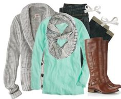I love the sea green color of this shirt paired with gray.