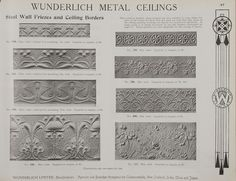 Catalogue page, page 47 of 'Abridged General Catalogue of Metal Ceilings, Wall Linings and Stamped Metal for Exterior and Interior Decoration', Wunderlich Limited, Redfern, New South Wales, Australia, September 1912  Page 47 of 'Abridged General Catalogue of Metal Ceilings, Wall Linings and Stamped ...