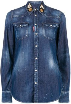 839ae8707f1e 11 Best embroidered denim shirt images in 2017 | Embroidered clothes ...