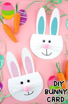 Simple Easter Bunny Card for kids -Make this cute bunny greeting card with our free printable template. Easy Easter craft for kids and diy Easter card. crafts diy printable templates How to Make a Simple Easter Bunny Card Bunny Crafts, Easter Crafts For Kids, Diy For Kids, Diy Easter Cards, Unicorn Crafts, Flower Crafts, Animal Crafts For Kids, Crafts For Girls, Diy And Crafts Sewing