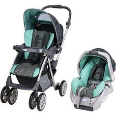Graco - Flip It Reversible Handle Travel System, Strata $189.98.....I love love love this color combination - Turquoise