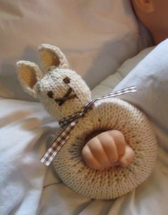 "Knitted Bunny Rattle shown with brown gingham by TheRobinsonsHouse, $12.00  like ""Dee"" only cuter"