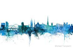 'Newcastle England Skyline' Photographic Print by Michael Tompsett Framed Prints, Canvas Prints, Art Prints, Newcastle England, Skyline Tattoo, Cityscape Art, Color Depth, Art Boards, Digital Art
