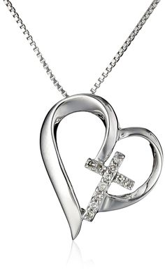 """Sterling Silver Open Heart with Diamond Cross """"Faith Hope Love"""" Pendant Necklace, 18""""