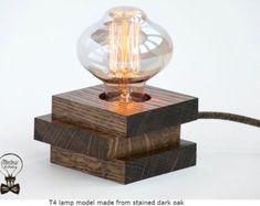 Handmade, T4 model, wooden, made from oak, Edison table lamp with switch, E27 socket, 110v / 230v, 40W