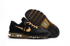 Nike Air Max 2017 Men Black Gold Shoes have a fashion and beautiful design! They are very popular among the young and Nike Air Max 2017 Men sneaker collectors! More than fashion,Nike Air Max 2017 are comfortable for your all-day wearing! Nike Air Max 2017, Nike Air Max Tn, Cheap Nike Air Max, Cheap Air, Black And Gold Shoes, Black Sports Shoes, Black Gold, Gold Top, Max Black