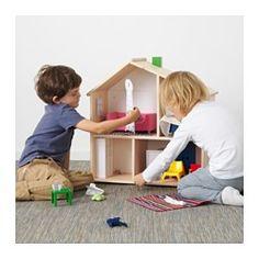 IKEA - FLISAT, Casa de muñecas/estantería, , Con esta casa de muñecas, tu hijo se divertirá jugando.La casa de muñecas también se puede utilizar como estante para libros, fotos u otros objetos pequeños que tu hijo quiera exponer cuando sea un poco más mayor.