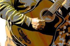 Guitar Player Giclee Print Abstract Realism by GrayWolfGallery