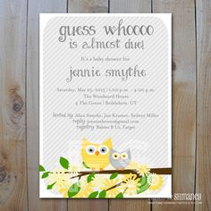Owl Baby Shower Candy Bar Wrappers/ Yellow by FancyShmancyNotes