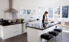 Black kitchen bench top white cupboards