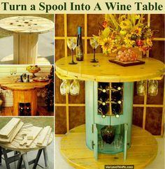 Turn A Spool Into A Wine Table Pictures, Photos, and Images for Facebook, Tumblr, Pinterest, and Twitter