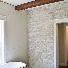 White washed brick exterior finish Fire place Pinterest