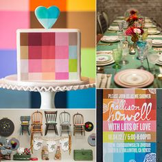 """When Jeni Maus, owner of vintage rental company Found in Orange County. """"I mean, she created a whole wall inspired by a print I had picked for my baby's art gallery!"""" That wall was just one of many standout decor items, which also included an amazing DIY yarn chandelier and cool colorblocked invites and a matching cake.  Source: Found Vintage Rentals"""