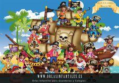 Leuk voor in de schoolkrant, thema piraten kleuters / Orla-Infantil-Barco-Pirata