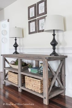 X Media console modified from Ana White X Console table plans-- stain and exact…