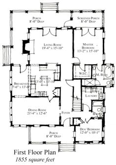 First Floor Plan of Country   Historic   House Plan 73910