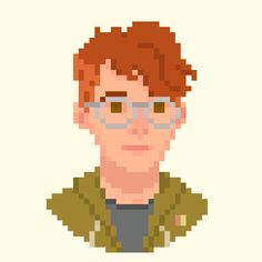 A self portrait I made for my Adobe live streams. It was interesting to pixel something with a higher resolution than usual!