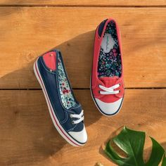 Key Lime 2 colourful canvas shoes with floral lining   Moshulu