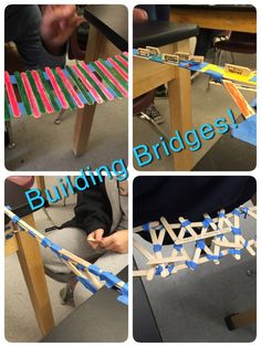Popsicle Bridges! For this activity, the set-up was simple. I separated the students desks by 1 foot, gave each group 25 Popsicle sticks and 3 feet of tape. Their goal was to make the strongest and most aesthetically pleasing bridge across the great desk divide!