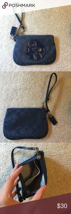 Coach wristlet Navy blue Coach wristlet never used! Light blue interior fabric Coach Bags Clutches & Wristlets