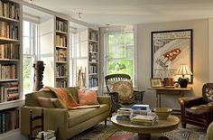 """so many bookshelves in this restored farmhouse -- """"I would be most content if my children grew up to be the kind of people who think decorating consists mostly of building enough bookshelves"""" .. Anna Quindlen"""