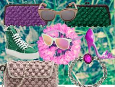 and Rafia Bag Sunnies, Sunglasses, Colorful Fashion, Missoni, Fashion Inspiration, Fashion Accessories, Sunday, Pumps, Website