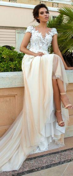 Marvelous Tulle Bateau Neckline A-Line Wedding Dresses With 3D Beaded Lace Appliques