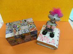 Caja forrada con papeles de scrap y libro cofre con ratoncito de goma eva.