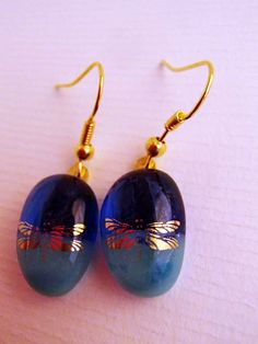 Glass fusion with 22kt gold dragonfly earrings by LikeYourJunk, $15.00