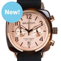 Clubmaster Chronograph (tortoise/rose gold) watch by Briston. Available at Dezeen Watch Store: www.dezeenwatchstore.com
