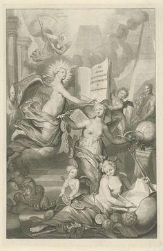 Pieter van Gunst | Faam, Eeuwigheid en Schrijfkunst, Pieter van Gunst, 1731 | In het midden drie gevleugelde personificaties: Faam ligt op de voorgrond en tekent een kaart. Ze kijkt naar een medaillonketting met portretten van vorsten; Eeuwigheid draagt in de ene hand een medaillonketting met portretten en in de andere hand het teken van oneindigheid, de ring Ouroboros. Links zit Schrijfkunst. Zij schrijft alles op in een groot boek, waarop de titel van het boekwerk. Rondom hen belangrijke…
