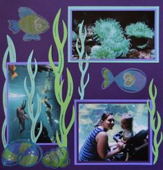 Aquarium scrapbook page with Seaweed from Cricut's Life's a Beach. For more ideas and to learn how I made this page and others, go to Everyday Life Scrapbook 11 at meandmycricut.com