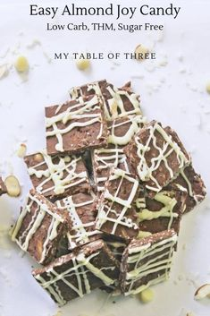 Easy Almond Joy Candy is a rich and smooth chocolate base full of coconut and almonds then drizzled with a sugar free white Chocolate Chocolate Candy Recipes, Sugar Free Chocolate, Melting Chocolate, White Chocolate, Low Carb Candy, Keto Candy, Low Carb Recipes, Snack Recipes, Yummy Recipes