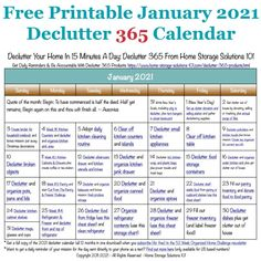 Free printable January 2021 #decluttering calendar with daily 15 minute missions. Follow the entire #Declutter365 plan provided by Home Storage Solutions 101 to #declutter your whole house in a year.