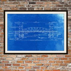 New york print new york skyline limited edition print brooklyn blueprint art of chicago bridge technical drawings engineering drawings patent blue print art item 0041 malvernweather Image collections