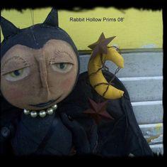 Primitive Halloween Bannicula Bat Dollie by Rabbithollowprims, $44.95